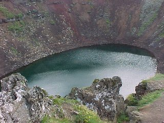 Volcano crater lake